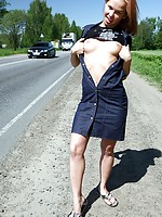 Hot and sexy hitchhiker is given a very bumby ride in car